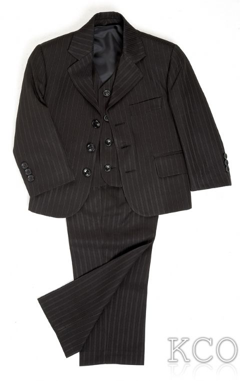 Pinstripe Black~ 3 Piece Boys Suits